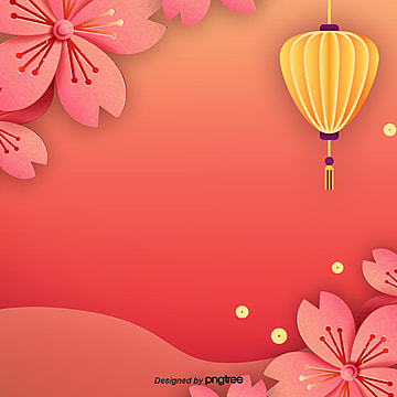 red chinese style new year background elements, Slope, Flower, Lantern PNG and PSD