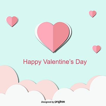 Pink-blue origami style Peach Valentines Day three-dimensional illustration, Flaky Clouds, Valentines Day, Three-dimensional PNG and Vector