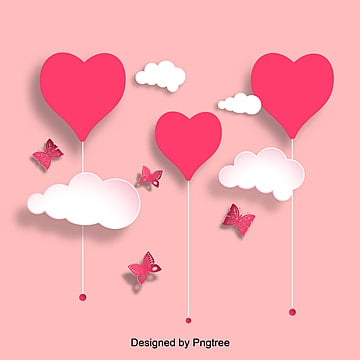 Pink Valentines Day Lovely Cloud  Paper cut Elements, Flaky Clouds, Paper-cut, Lovely PNG and Vector