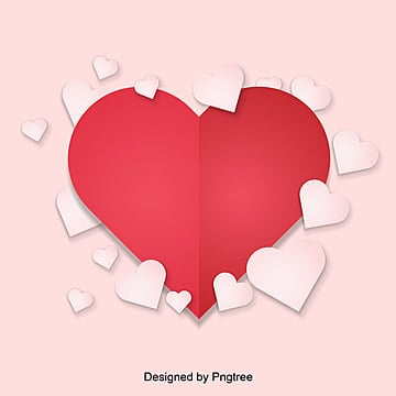 valentines day red stereo paper cut small love projection element background, Paper-cut, Lovely, Valentines Day PNG and Vector