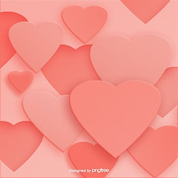 Creative Three-dimensional Love Background for Coral Red Valentines Day, Trend Color 2019, Originality, Creative Background PNG and PSD