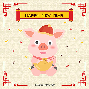 Cartoon pig holding gold frame pattern China red line, The Cartoon Pink Pig, Hold The Gold, Frame Vector PNG and Vector