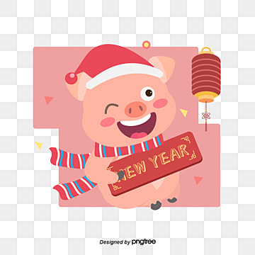 pink cartoon pig celebrates new years hand painted vector elements, Happy New Year, Cartoon Pig, Scarf PNG and Vector