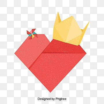 Red Valentines Day Love Red Origami Style Material, Cartoon, Lovely, Aestheticism PNG and PSD