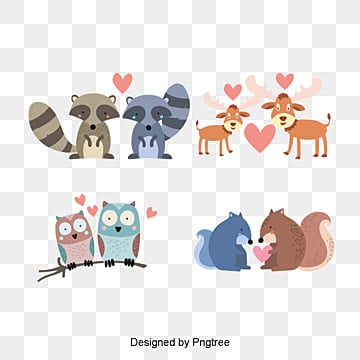 valentines day animal lovers illustration, Character, Animal, Cartoon PNG and PSD