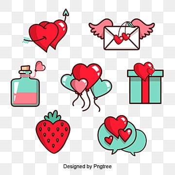 valentines day love festival elements illustration, Cartoon, Lovely, Aestheticism PNG and PSD