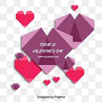 valentines day love red origami style material, Valentines Day, Origami, Love PNG and PSD