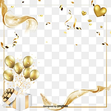 Creative Gold with Balloon Elements, Originality, Coloured Ribbon, Fashion PNG and PSD