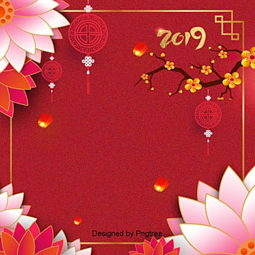 red new year background, 2019, The Peach Blossom, Lotus PNG and PSD