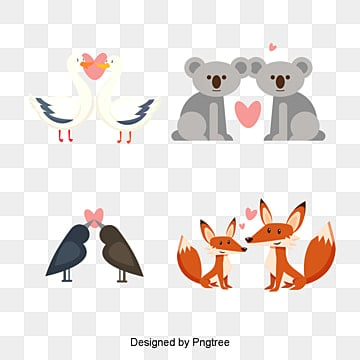 valentines day animal lovers illustration, Valentines, Lovers, Animal PNG and PSD