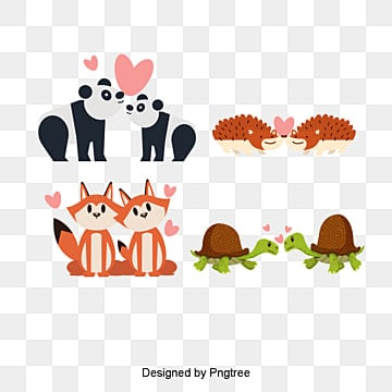 valentines day animal lovers illustration, Animal, Cartoon, Lovely PNG and PSD