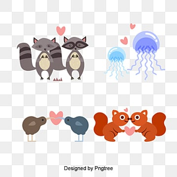 valentines day animal lovers illustration, Animal, Animal Clipart, Valentines PNG and PSD