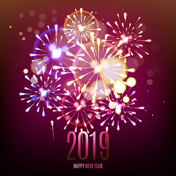 2019 celebration fireworks beautiful background, New, Year, Background PNG and Vector