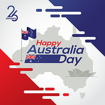 happy australia day with map and flag australia  vector illustration, Australian National Day, Map, Poster Vector PNG and Vector