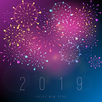 realistic fireworks new year 2019 background, Fireworks, Purple, Poster PNG and Vector