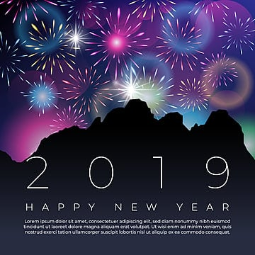 realistic fireworks new year 2019 background, Fireworks, Sky, Poster Vector PNG and Vector