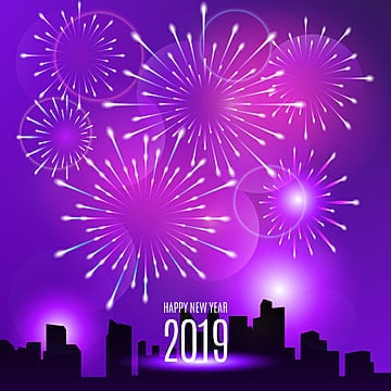 Realistic fireworks new year 2019 background, Fireworks, New, Year PNG and Vector