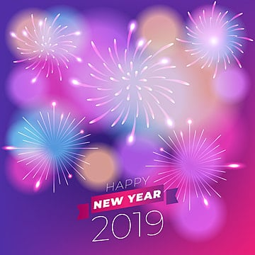 realistic fireworks new year 2019 background, Colorful Vector, Fireworks, Poster Vector PNG and Vector
