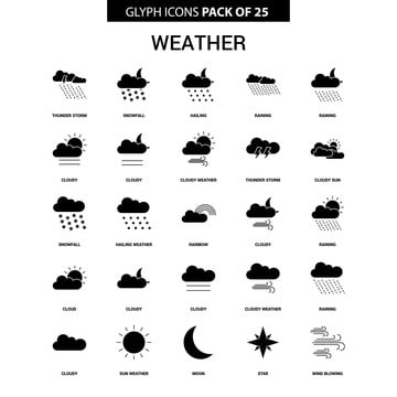 Set Of Vector Realistic Weather Icons Isolated On