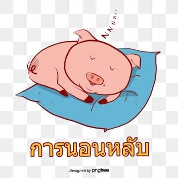 อิโมติคอนสติ๊กเกอร์หมูสีชมพูการนอนหลับหมูสีชมพู  การนอนหลับ PNG และ PSD