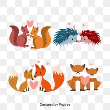 cartoon valentines day animal lovers illustration, Originality, Animal, Cartoon PNG and PSD