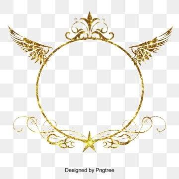 Golden Splendid Wings Star Wedding Card Lovely Round Border Element illustration image