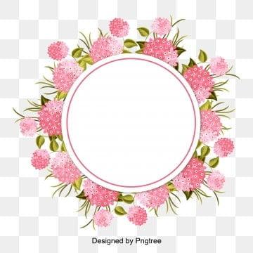 กรอบรูป วงกลมรอบ ดอกไม้ สีชมพู ใบสีเขียวกรอบรูป  วงกลมรอบ  ดอกไม้ รูปภาพ PNG และเวกเตอร์