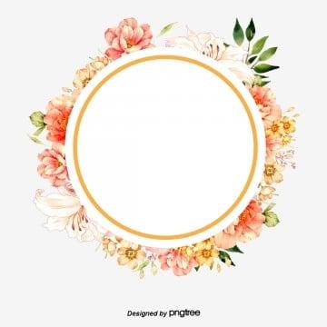 วงกลม ดอกไม้ ลอมด้วยใบ วงกลม สีส้ม สีเขียวอ่อนวงกลม  ดอกไม้  ลอมด้วยใบ PNG และ PSD