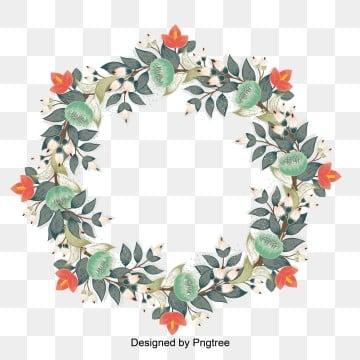 กรอบ ดอกไม้วงกลม พวงมาลัยดอกไม้ สีเขียว สีแดง สีครีมพวงมาลัยดอกไม้  สีครีม รูปภาพ PNG และเวกเตอร์
