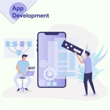 app development illustration concept a man designed a prototype for a mobile app and a man was putting an application on a smart phone  can use for landing page template ui web mobile app banner, Illustration, Web, Business PNG and Vector