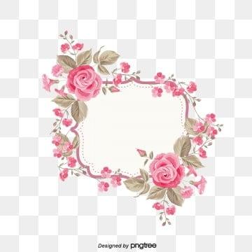 ดอกไม้ กรอบ สีชมพู ที่สวยงาม  โรแมนติกมีกลิ่นหอม  โรแมนติก  ความรัก PNG และ PSD