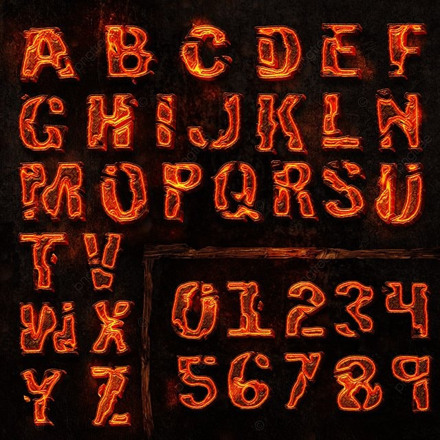 burnig 3d letters, 3d, Hq, Hd PNG and PSD