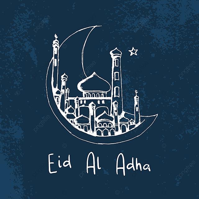 تحية تصميم خلفية عيد الأضحى الإسلامي مع مسجد مرسومة باليد والقمر