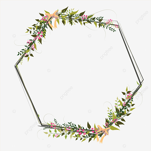 colorful floral border design  frame  green  flower png