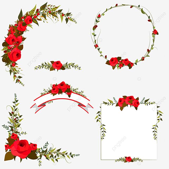 Frontera Floral Colorido Diseño, Frame, Verde, Flor PNG y Vector ...
