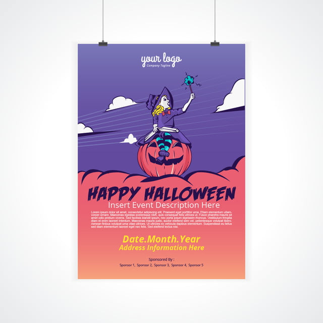 halloween poster design templatewith witch girl template