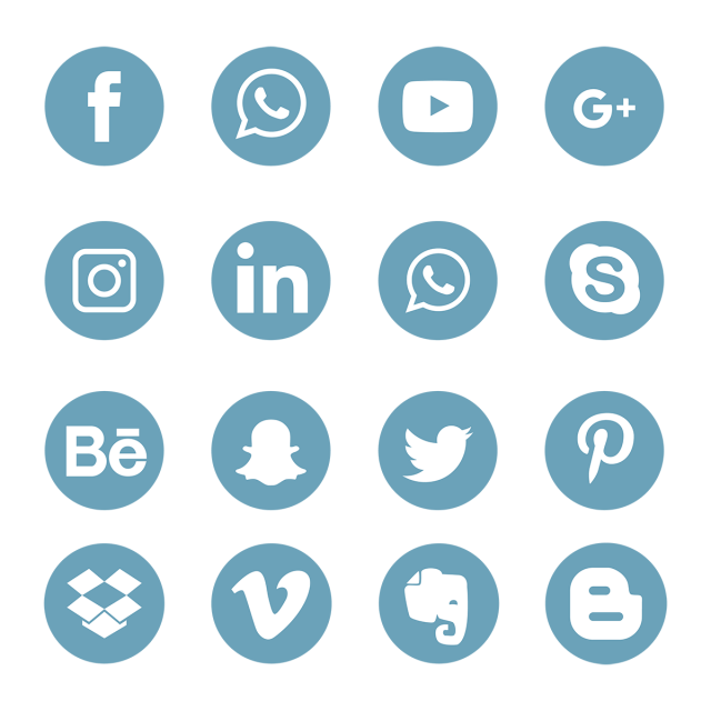 blue social media icons set logo symbol  social  media