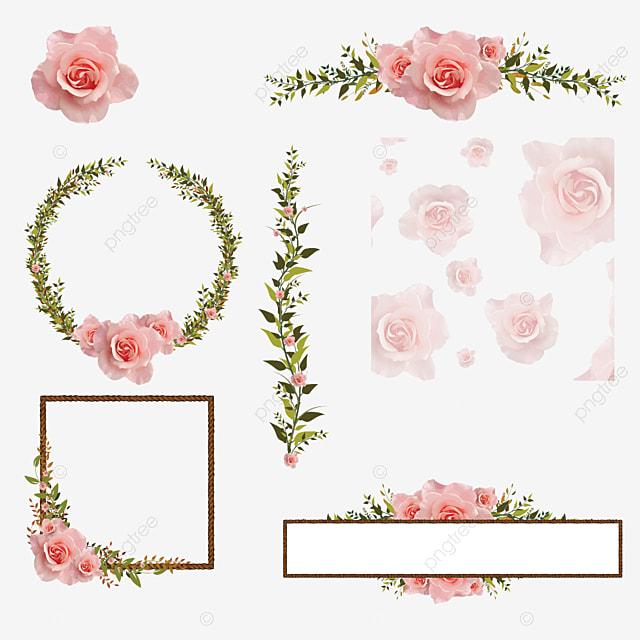 Colorful Floral Border Design Frame Green Flower Png