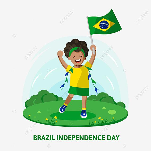 Poster Kreatif Desain Brazil Hari Kemerdekaan Dengan Anak Memegang