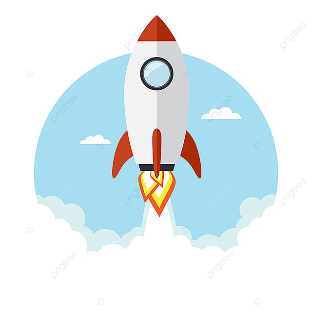 Rocket Flying In The Sky, Art, Background, Blue PNG And
