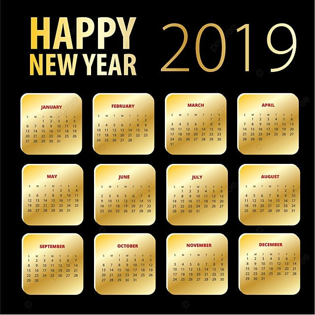 happy new year 2019 gold design template calendar calender 2019 2019 png and