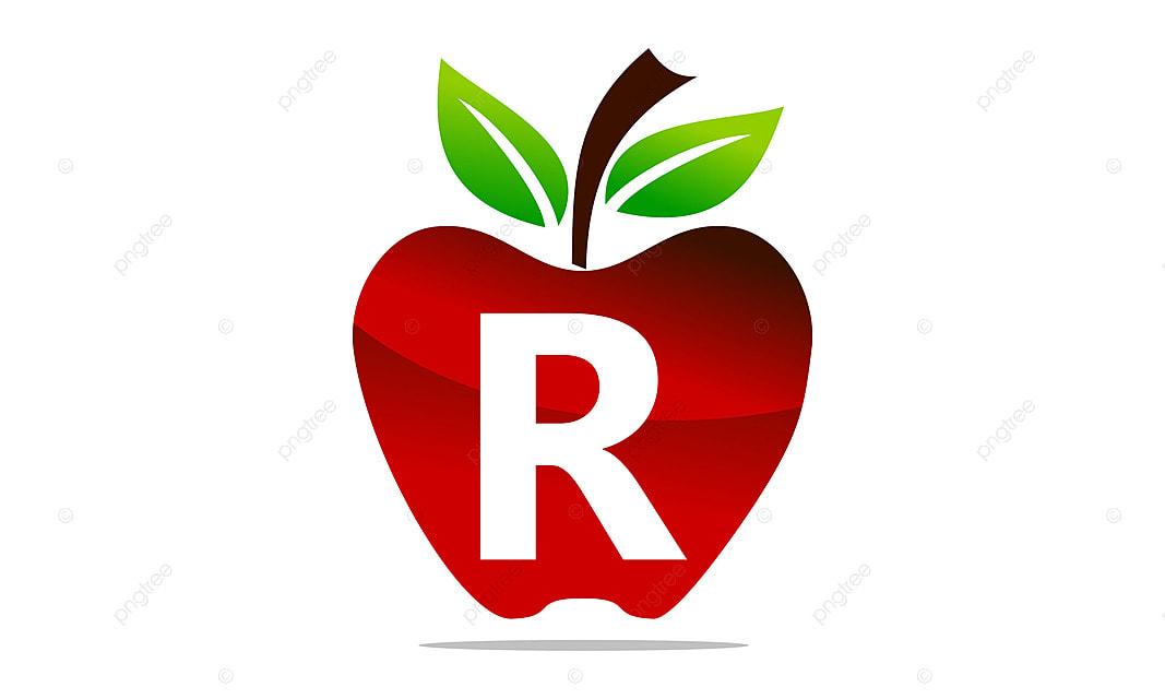 apple letter r logo design template vector design eating food png