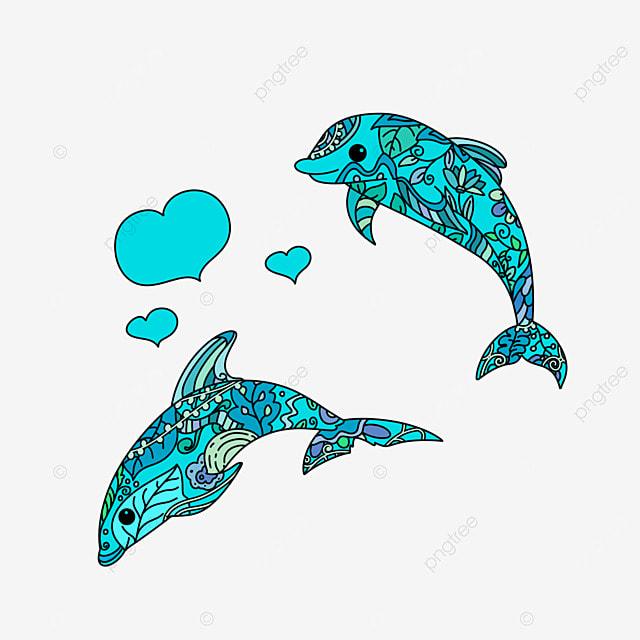 Libro Para Colorear Pagina Diseño En Estilo Doodle Con Dos Delfines ...