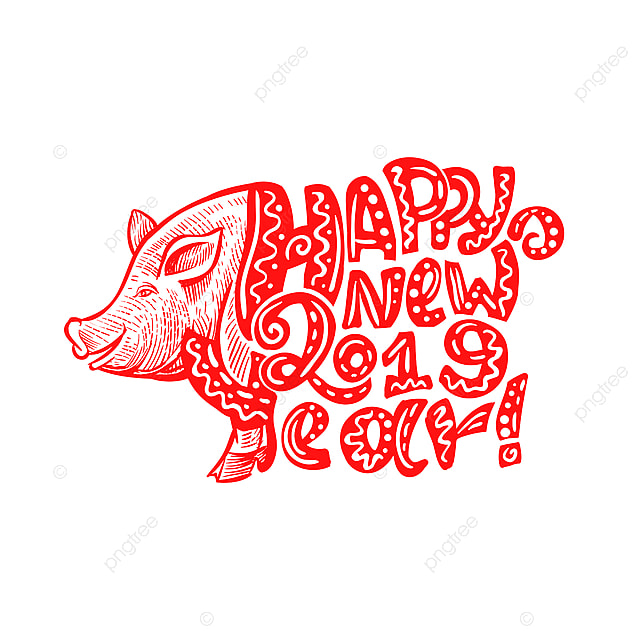 Cute Pig Snout In Red Color With Happy New Year 2019 Pig Swine