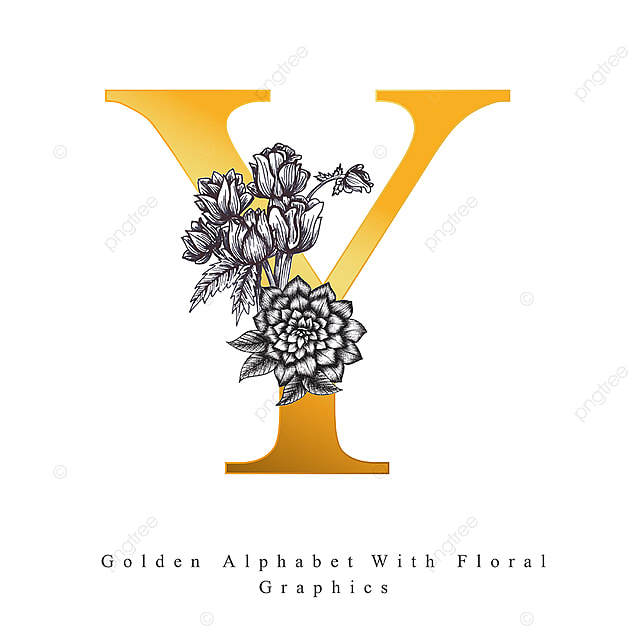 Golden Alphabet Letter Y With Black And White Hand Drawn Floral