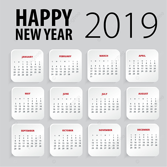 Happy New Year 2019 Calendar Template Calendar Design New Png And