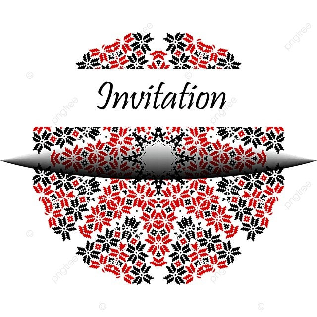Invitation Banner Card With Ukraine Embroidery Seamless Pattern