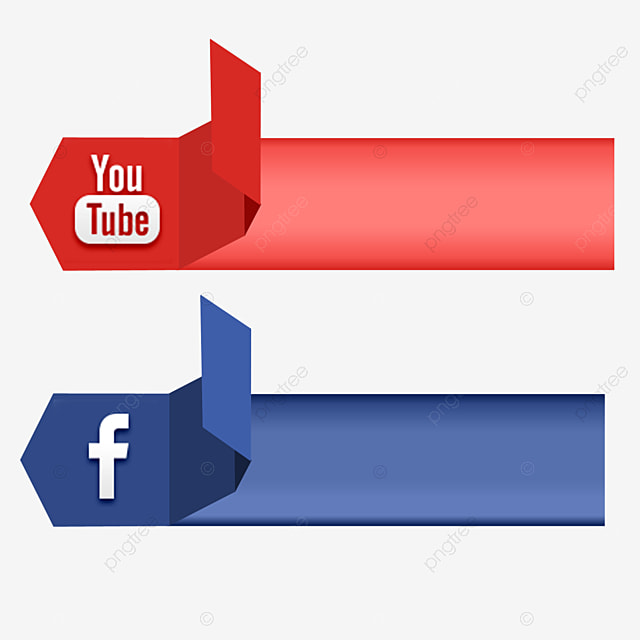 Home Design 3d Youtube: Social Media 3d Icon Facebook Youtube Vector Ribbon Banner