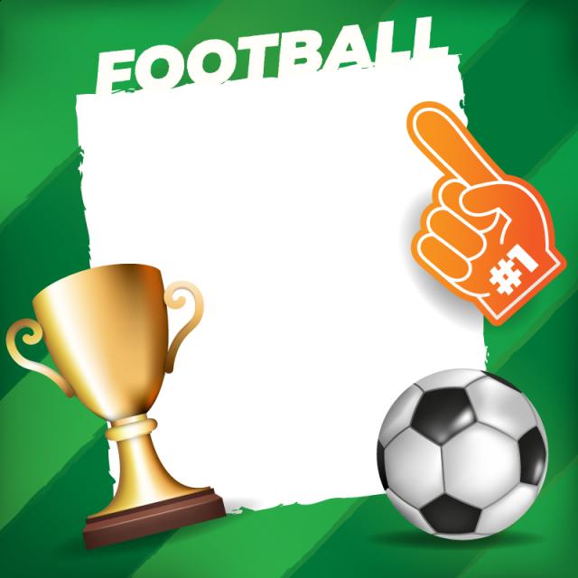 Balón De Fútbol En Un Campo De Fondo Con Marco Blanco Soccer Frame ...