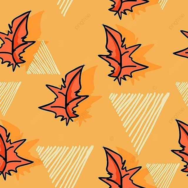 Daun Musim Gugur Corak Dengan Tangan Berwarna Warni Menarik A Pera Png Dan Vr